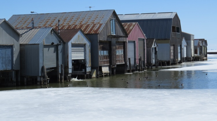 Boathouses at Port Rowan Harbour