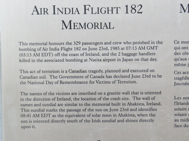 Excerpt from Air India Flight 182 Memorial at Humber Bay Park East in Toronto, ON