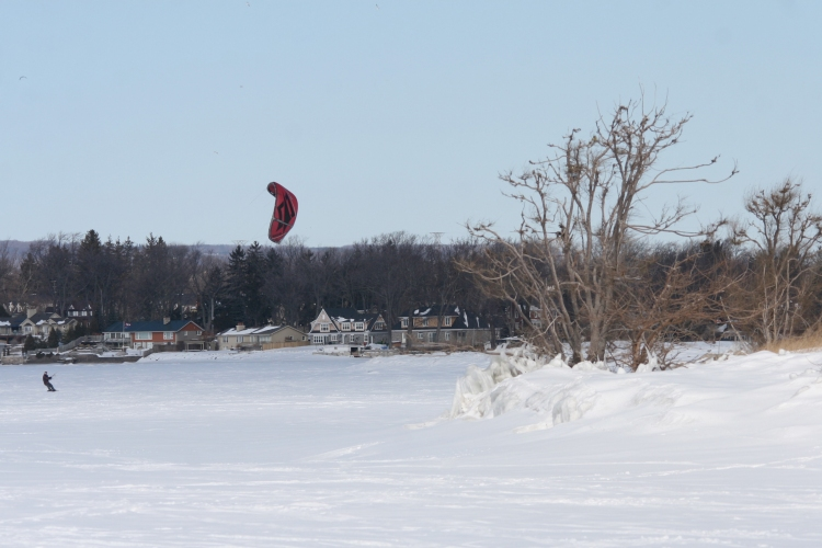 Lad snow kiting near Canadian Centre for Inland Waters