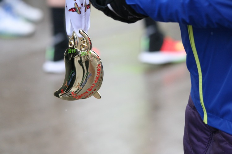 Medals at half chilli marathon in Burlington, ON