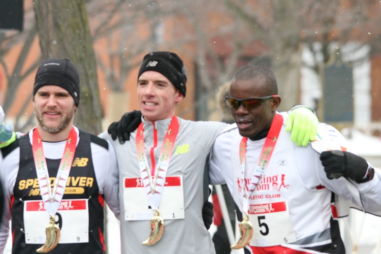 Top three finishers at half chilli marathon in Burlington, ON