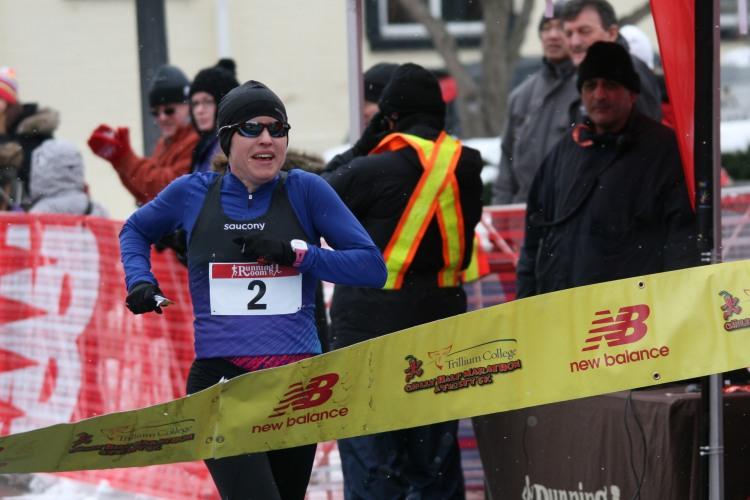 Winning female at half chilli marathon in Burlington, ON