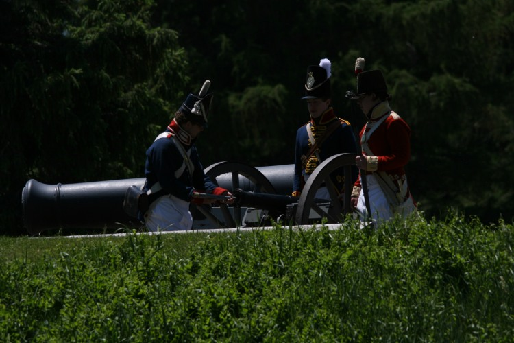Re-enactment practice at Old Fort Erie